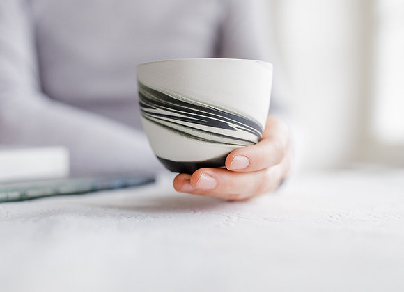 Smoke cup, beige and black - matt