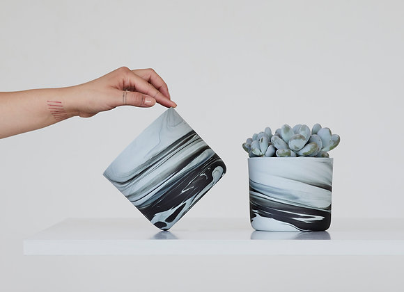 Ceramic Planter - light gray&black