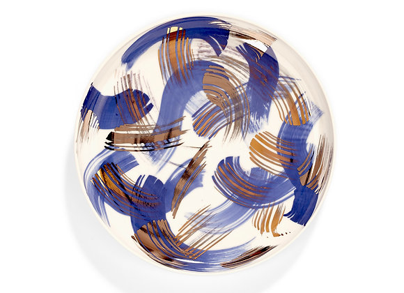 Porcelain plate - cobalt brush with gold