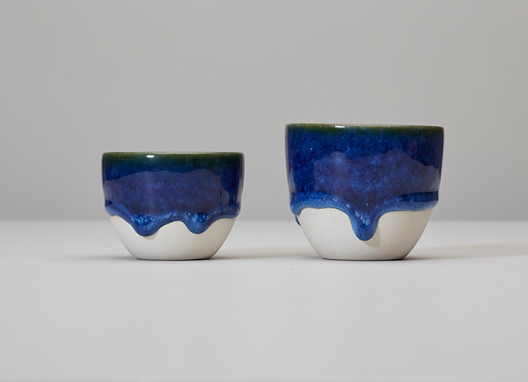 Simple blue cup with dripping glaze N.2