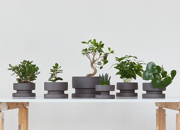 Set of flower pots - dark chamotte