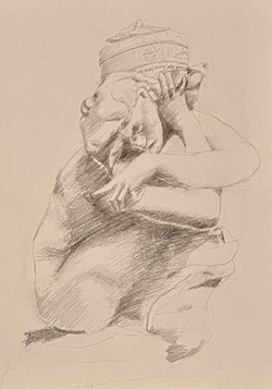 Rodin's Caryatid Drawn