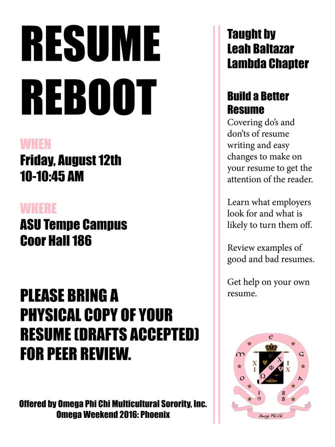 Omega Weekend: Resume Reboot
