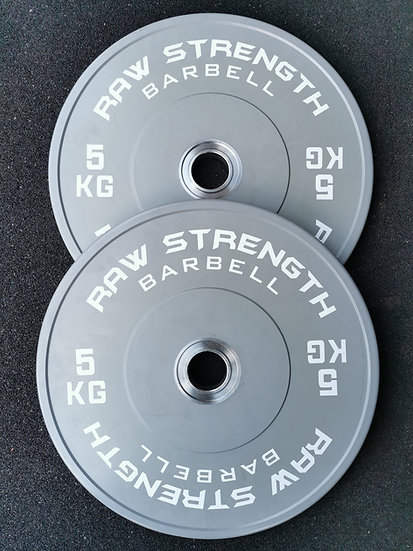 RAW STRENGTH BARBELL PREMIUM COMPETITION GREY COLOUR BUMPER PLATE 5KG (PAIR)
