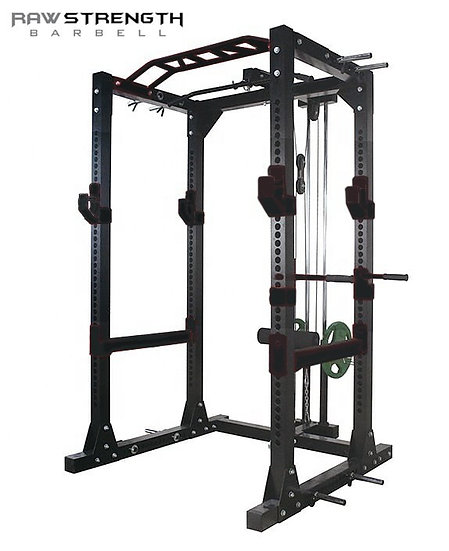 RAW STRENGTH BARBELL POWER RACK SQUAT CAGE DIP BAR AND HIGH LOW PULLEY (BLACK)