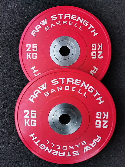 RAW STRENGTH BARBELL PREMIUM COMPETITION RED COLOUR BUMPER  PLATE 25KG (PAIR)
