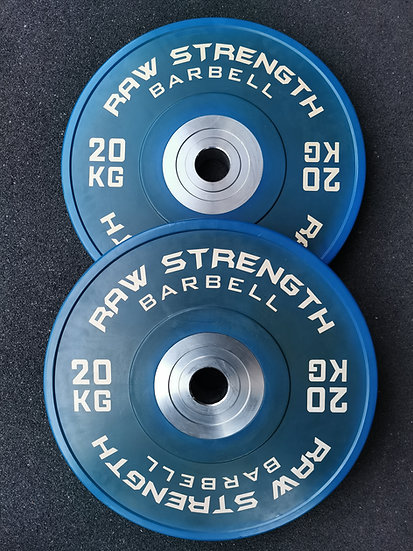 RAW STRENGTH BARBELL PREMIUM COMPETITION BLUE COLOUR BUMPER  PLATE 20KG (PAIR)