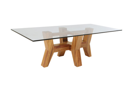 Mesa de comedor Valkiria con cubierta de cristal