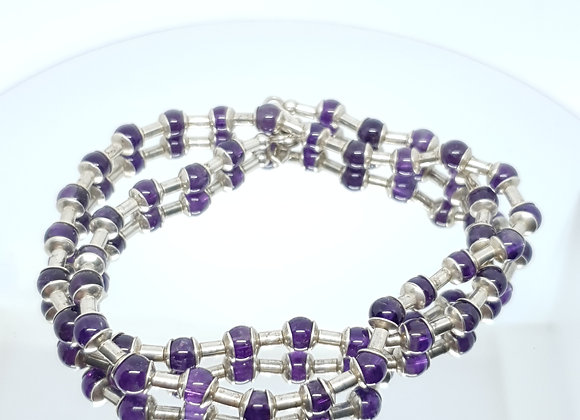 Vintage Amethyst Bead Sterling Silver Necklace