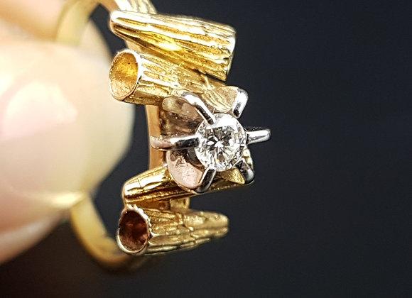 Modernist 18ct Gold Diamond Engagement Ring Modernist VS quality colour F Tree B
