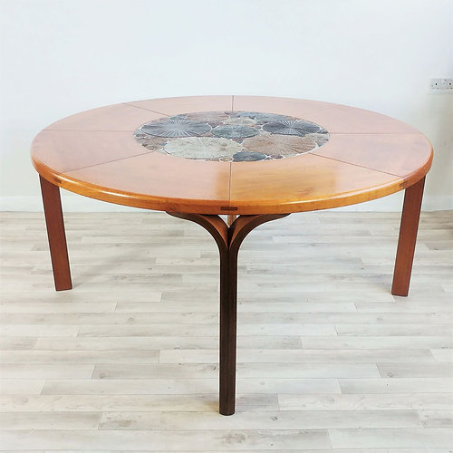 1960s danish tue poulsen art pottery oak round dining table for haslev denmark - Oak Round Dining Table