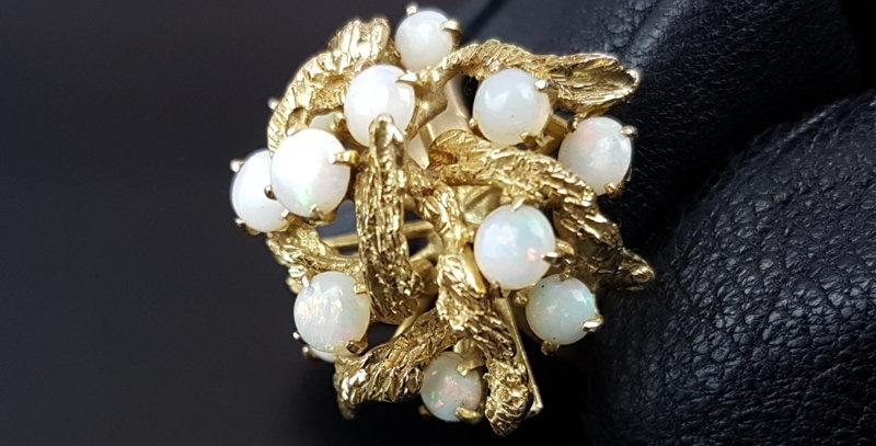 Vintage Cabochon Opal 14ct Gold Modernist Ring Brutalist Tree Bark Cocktail Ring