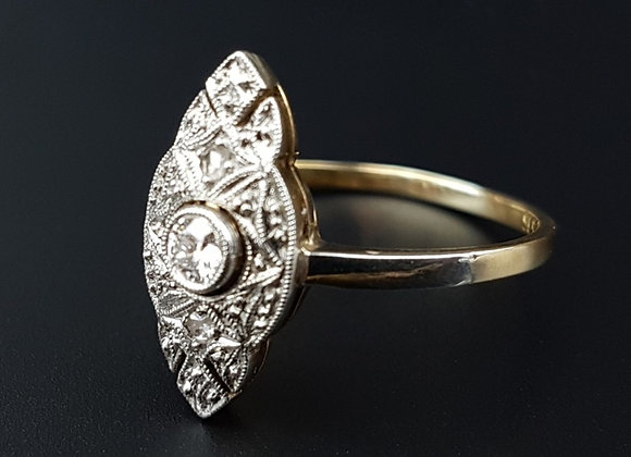 Art Deco 14ct Gold Old Cut Diamond Engagement Ring Filigree Diamond Ring Origina
