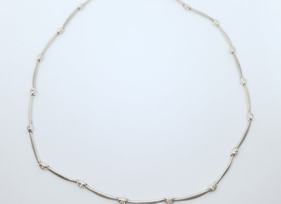 Designer Second-Hand Brushed Sterling Silver Cubic Zirconia Necklace