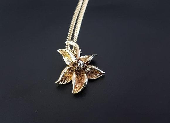 Modernist Style 9ct Gold Diamond Lily Flower Gold Necklace Pendant Vintage
