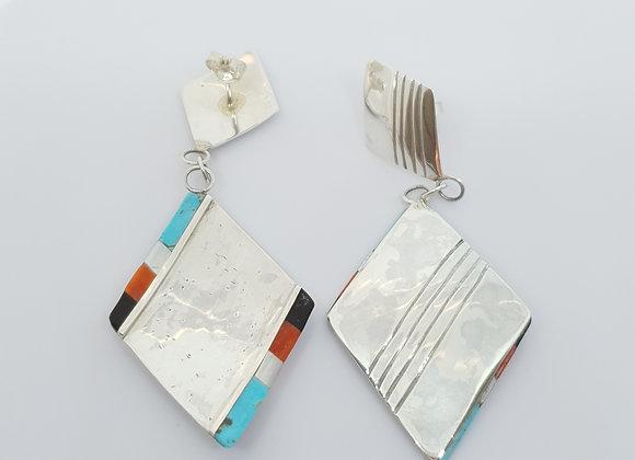 Vintage Navajo Native American Turquoise Carnelian Pearl Sterling Silver Earring