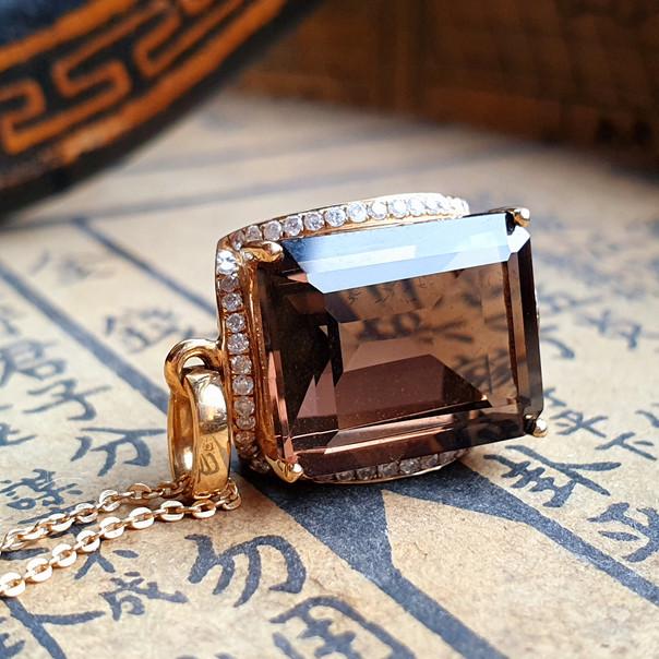 18ct Gold Emerald Cut Smoky Quartz Diamond Pendant Necklace Vintage Style