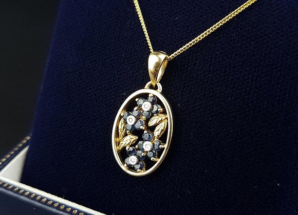 9ct Gold Sapphire Dia Diamonds Flower Pendant Necklace Brooks  & Bentley