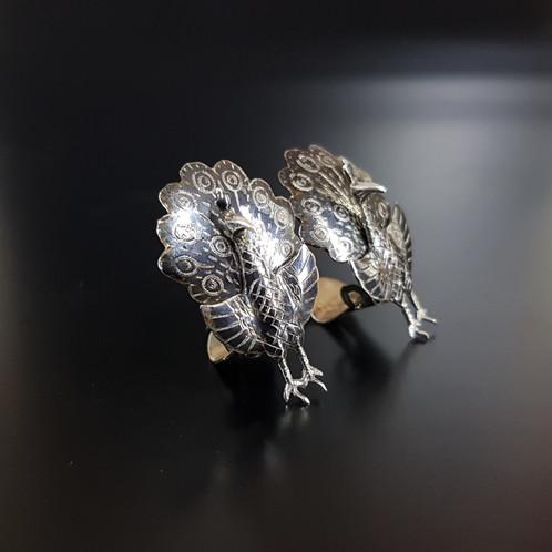 170c22849 Unusual Vintage Siam Sterling Silver Peacock Clip On 1950's Earrings
