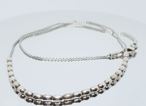 Vintage Italian Modular Articulated Ball Bead Sterling Silver Necklace