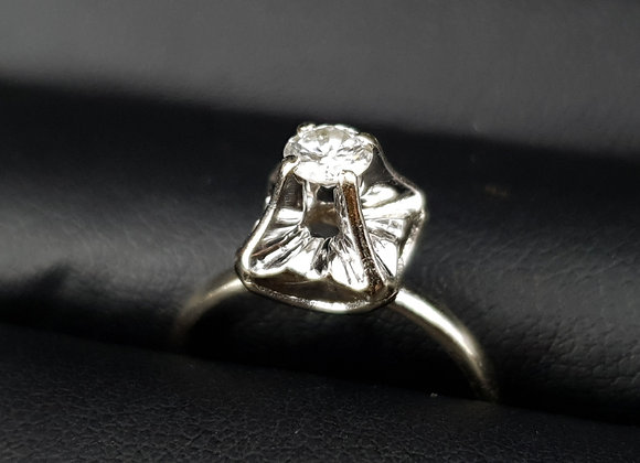 Vintage 18ct White Gold 0.25ct Diamond Engagement Ring by Duque Dates fr