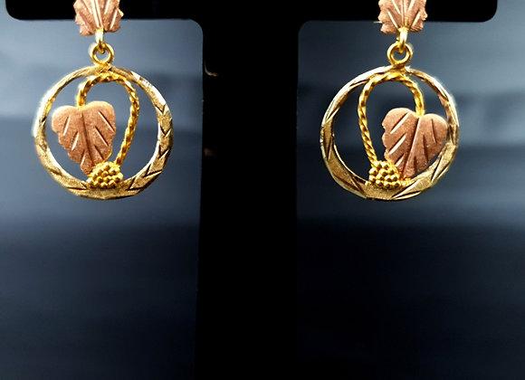 Black Hills Gold Earrings 12k 12 Carat 14k 14ct Yellow Gold Pink Rose Gold Wine