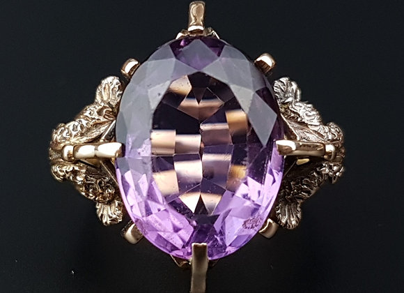 Antique 9ct Rose Gold Amethyst Dress Ring Art Nouveau Arts And Crafts