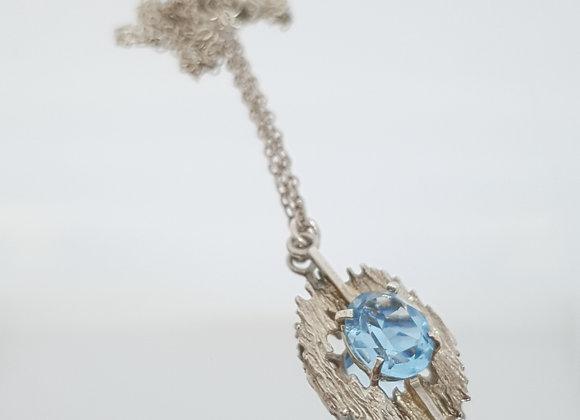 Modernist Blue Aquamarine  Sterling Silver Pendant Necklace Israel
