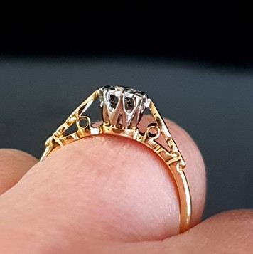 Art Deco Style 18ct Gold Cathedral Filig