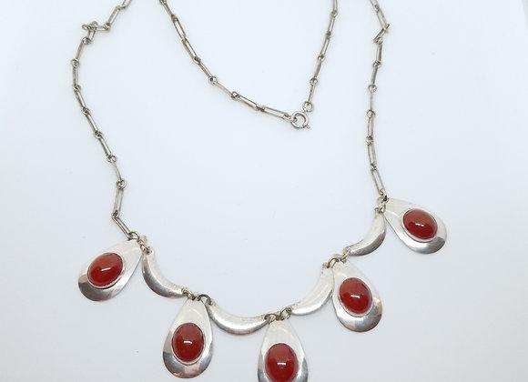 Modernist Vintage Sterling Silver Carnelian Necklace Israel