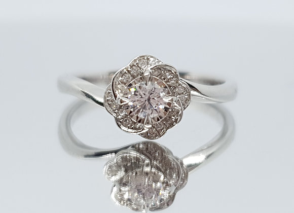 Vintage Style Halo Twist  Rose 18ct White Gold Diamond Solitaire Ring