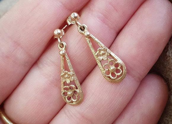 Vintage 9ct Flower Gold Drop Dangle Earrings London 375