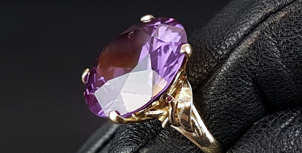 Antique Art Nouveau Art Deco Style 7.5ct 17mm Alexandrite 14CT Gold Dress Ring