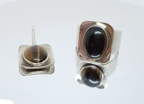 Unisex Modernist Smith, Ewen & Stylic Sterling Silver Tiger Eyes Pendant Ring