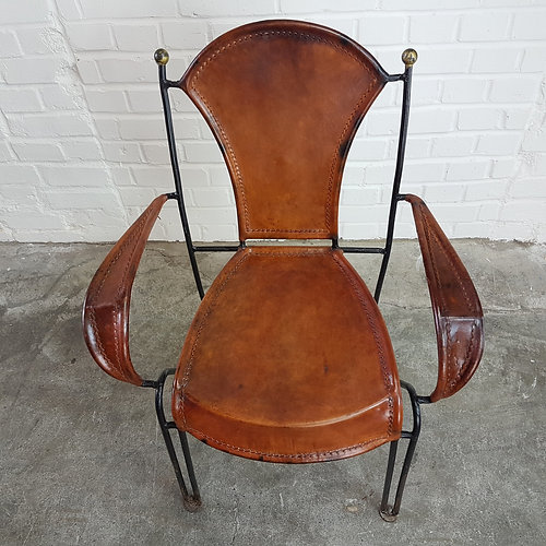 Early 20th Century Industrial French Saddle Leather Iron Brass Armchair CH7
