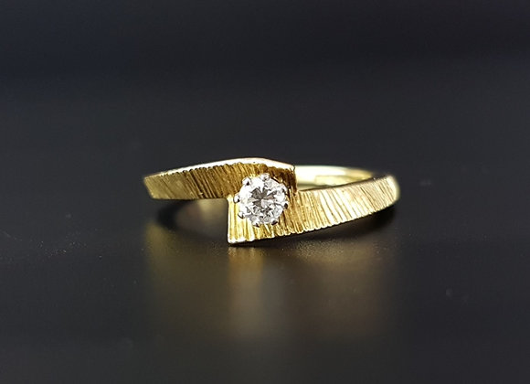 Modernist Retro Bark Twisted 18ct 18 carat Gold Diamond Engagement Ring 1969