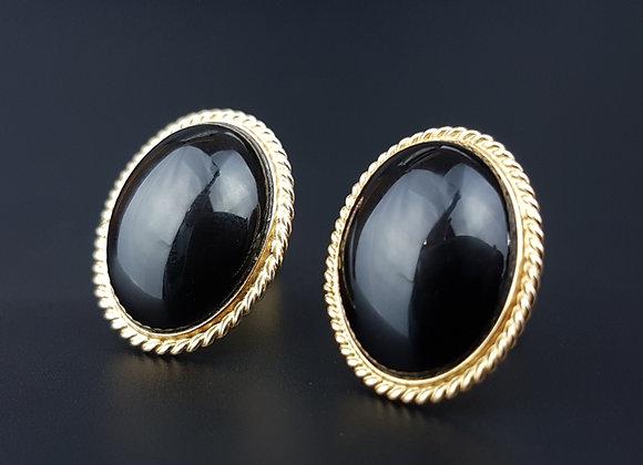 14k 14ct Gold Onyx Stud Earrings Victorian Vintage