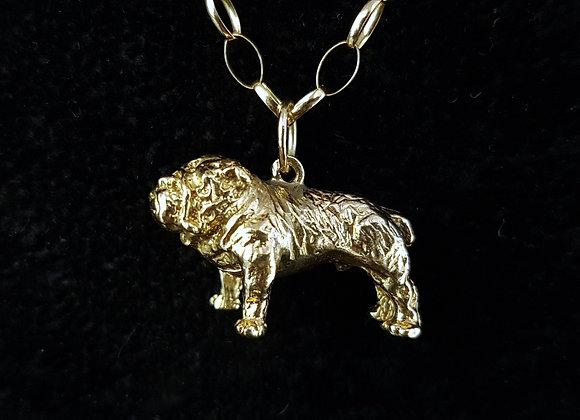 Vintage 9 Carat 9ct Gold British Bulldog Pendant With 9ct Gold Belcher Necklace