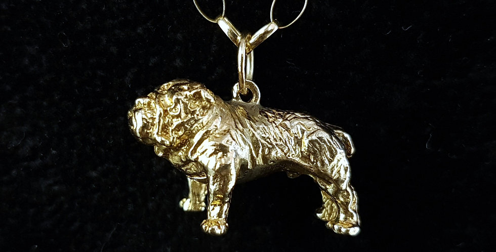 Vintage 9 Carat 9ct Gold British Bulldog Pendant With 9ct Gold Belcher Necklace