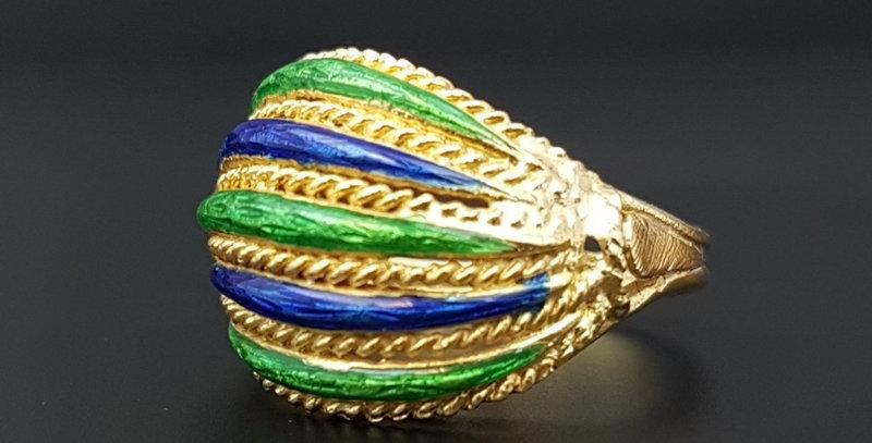 18ct Gold Enamel Ring Italian  Green Cobalt Blue Guilloche Enamel Dome Ring
