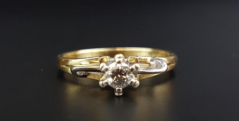 Modernist Vintage 18ct Gold 3.5 mm Diamond Engagement Ring 1971 Birmingham