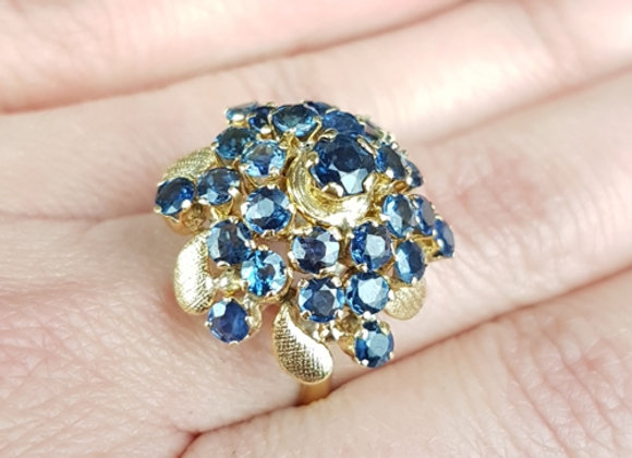 Sapphire Princess Pagoda Dome Ring Vintage 14K 14Ct Gold Ceylon Sapphire