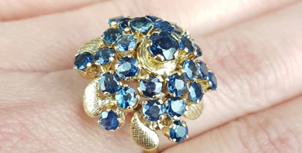 Sapphire Princess Pagoda Dome Ring Vintage 14K 14Ct Gold Ceylon Sapphire