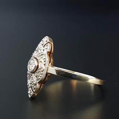 Art Deco 14ct Gold Old Cut Diamond Engag