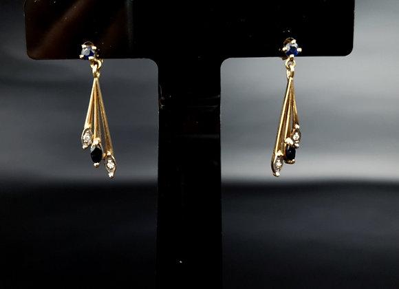 Vintage 9ct Gold Sapphire Diamond Drop Dangle Earrings London 375 SJ