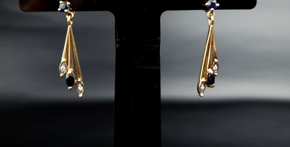 Vintage 9ct Gold Sapphire Diamond Drop Dangle Earrings London 375 SJ