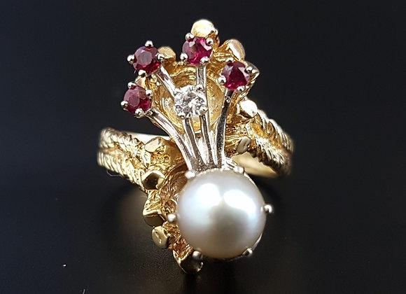 Modernist Sculptural Tree Bark 14 Carat Gold Pearl Ruby Multi Stone Ring