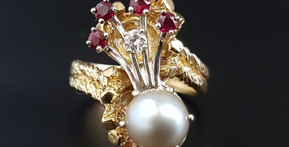 Modernist Sculptural Tree Bark 14 Carat Gold Pearl Ruby Multi Stone Ring