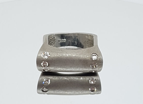 Size M / Handmade / Modernist Style Matte Brushed Sterling Silver  Ring