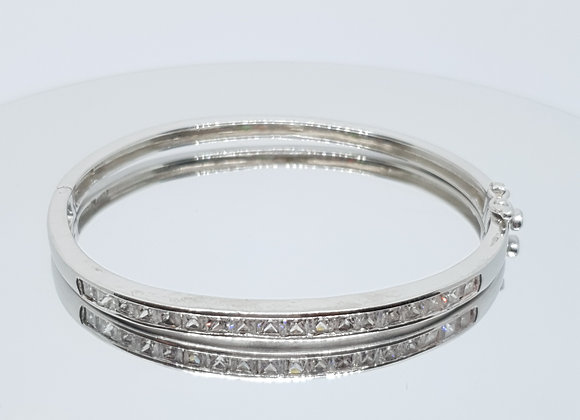 Designer Second-Hand Sterling Silver Cubic Zirconia Bangle Cuff Bracelet